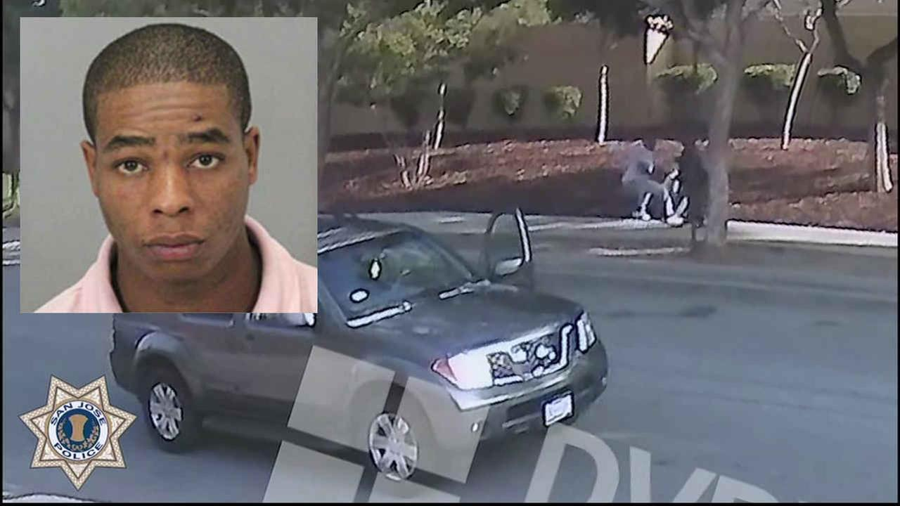 This composite image shows Lawrence Carter allegedly robbing a pair of senior citizens in San Jose, Calif.