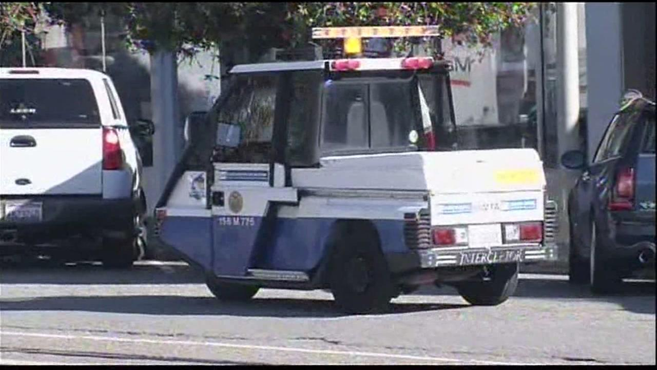 An SFMTA patrol vehicle is seen checking parking meters in San Francisco in this undated image.