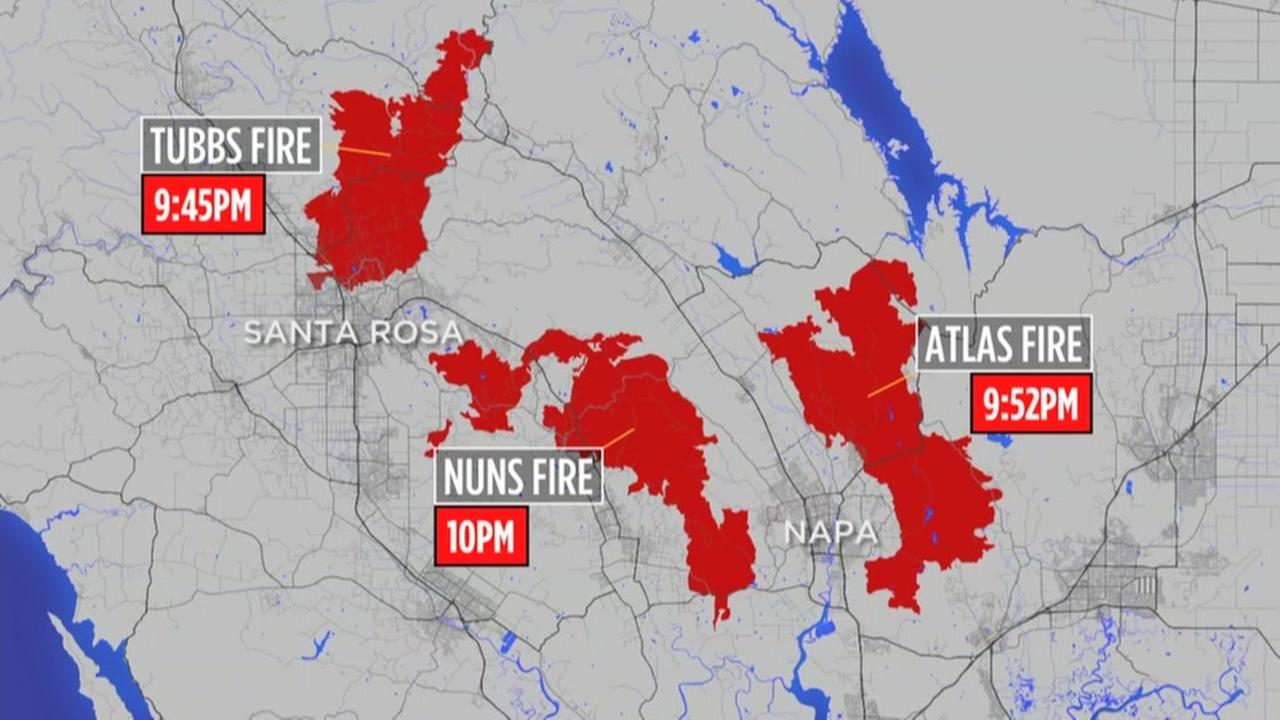 A map shows the timing of how the North Bay wildfires unfolded.