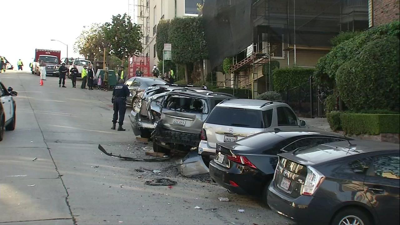 This is an undated image of cars destroyed during when a dump truck was stolen in San Francisco, Calif.