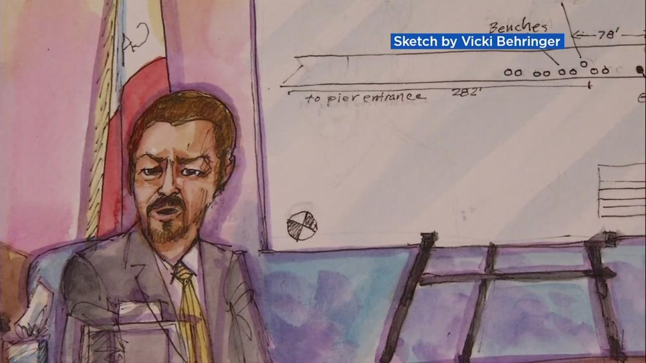 A courtroom sketch shows the proceedings of the Kate Steinle murder trial in San Francisco, Calif. on Tuesday, Nov. 14, 2017.