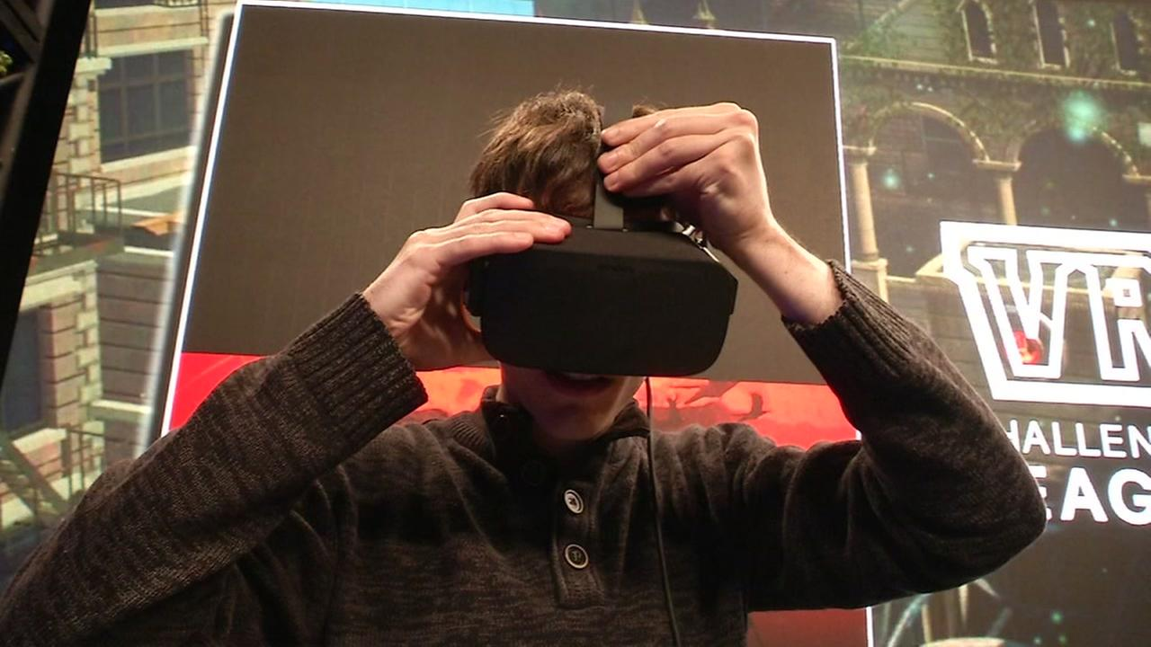 A participant works a VR headset at the Intel Extreme Masters event in Oakland, Calif. on Nov. 17, 2017.