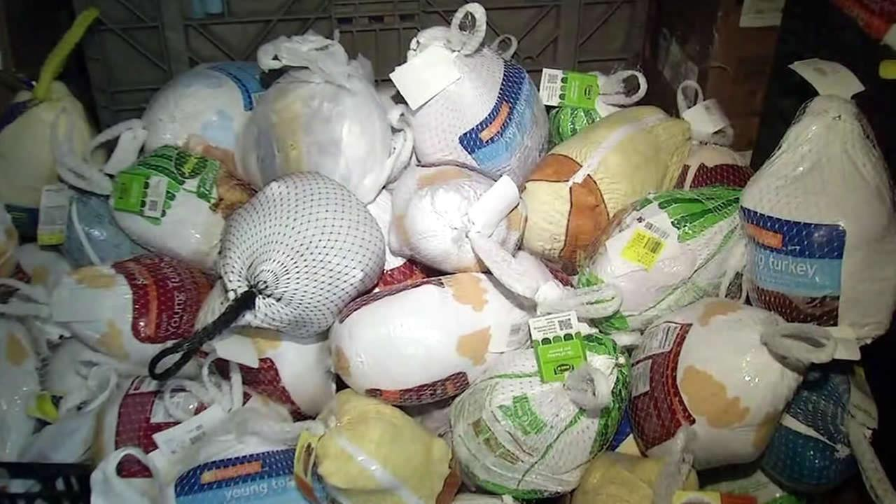 Turkeys to help feed thousands of families are seen at the Sacred Heart Community Service center in San Jose, Calif. on Monday, November 20, 2017.