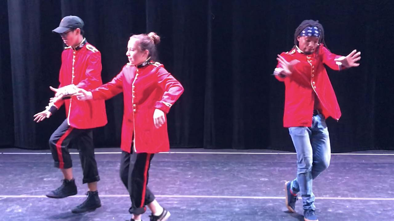 This is an image of 4 dancers practicing a hip-hop version of The Nutcracker on Wednesday, December 13, 2017, in Redwood City, Calif.