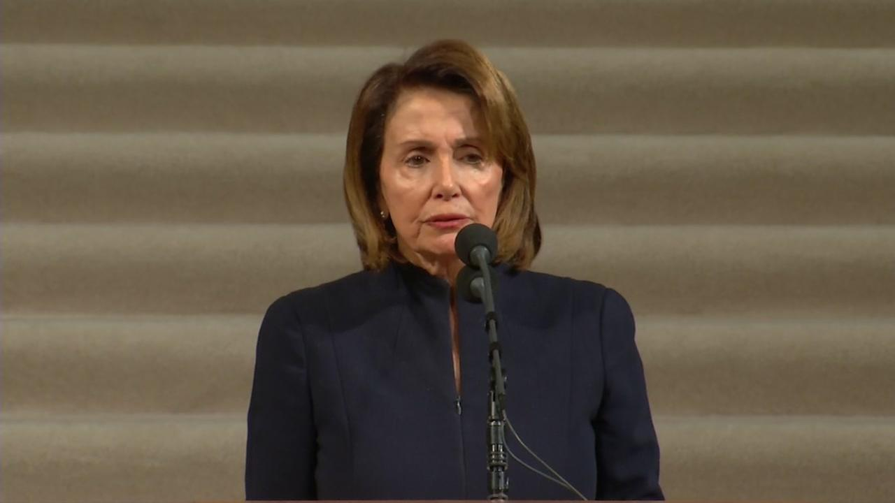 U.S. Representative Nancy Pelosi spoke Sunday, Dec. 17, 2017, at the memorial service for Mayor Ed Lee at San Francisco City Hall.