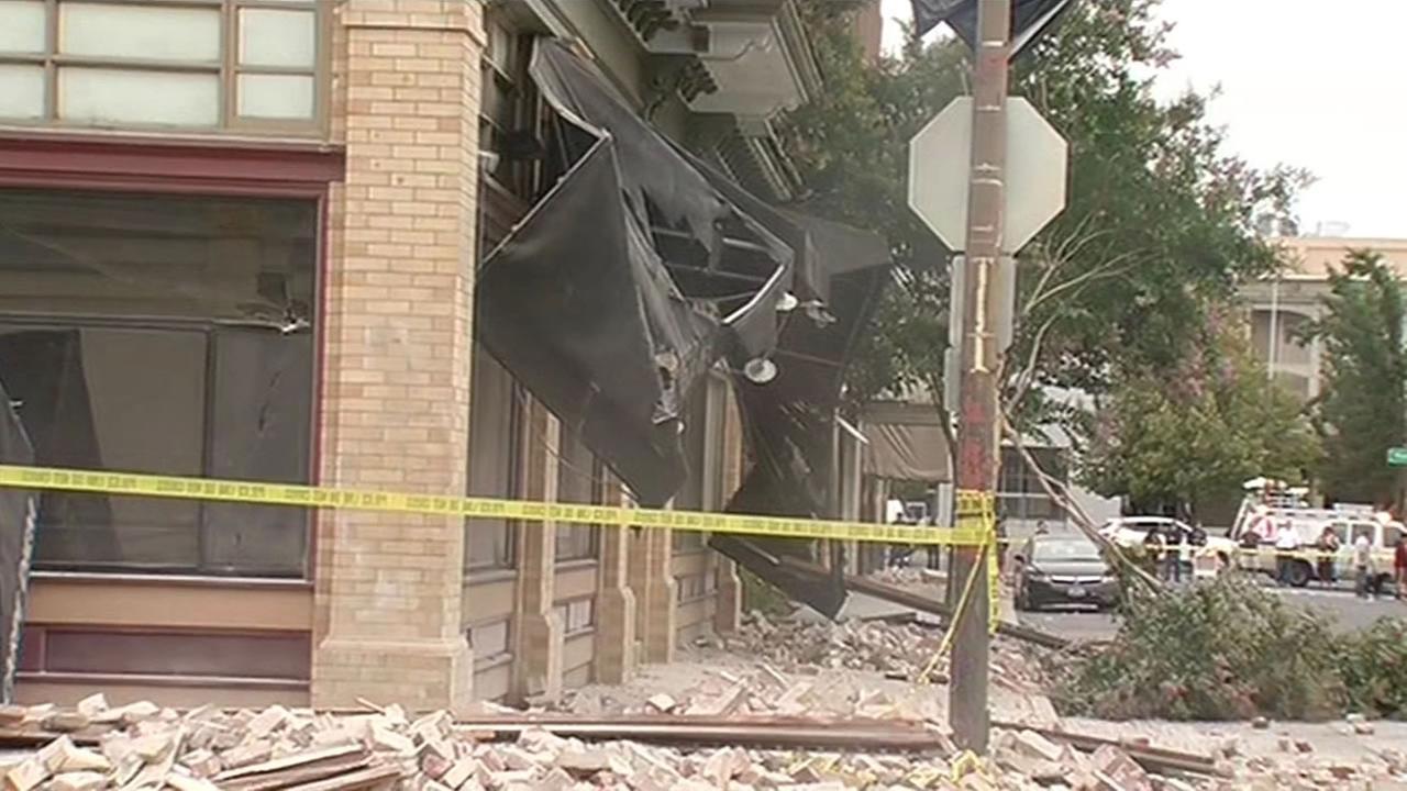 Earthquake damage in Downtown Napa.