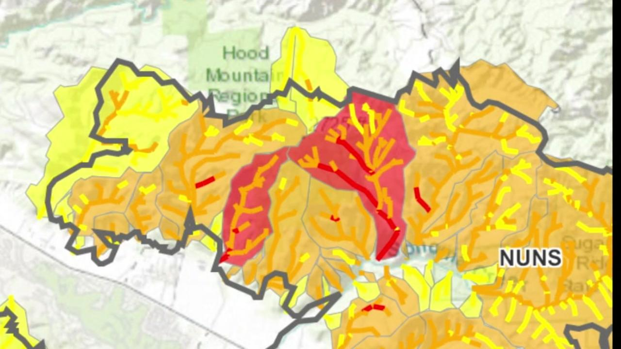 This map shows burn scar areas from the Nuns Fire in Northern California.