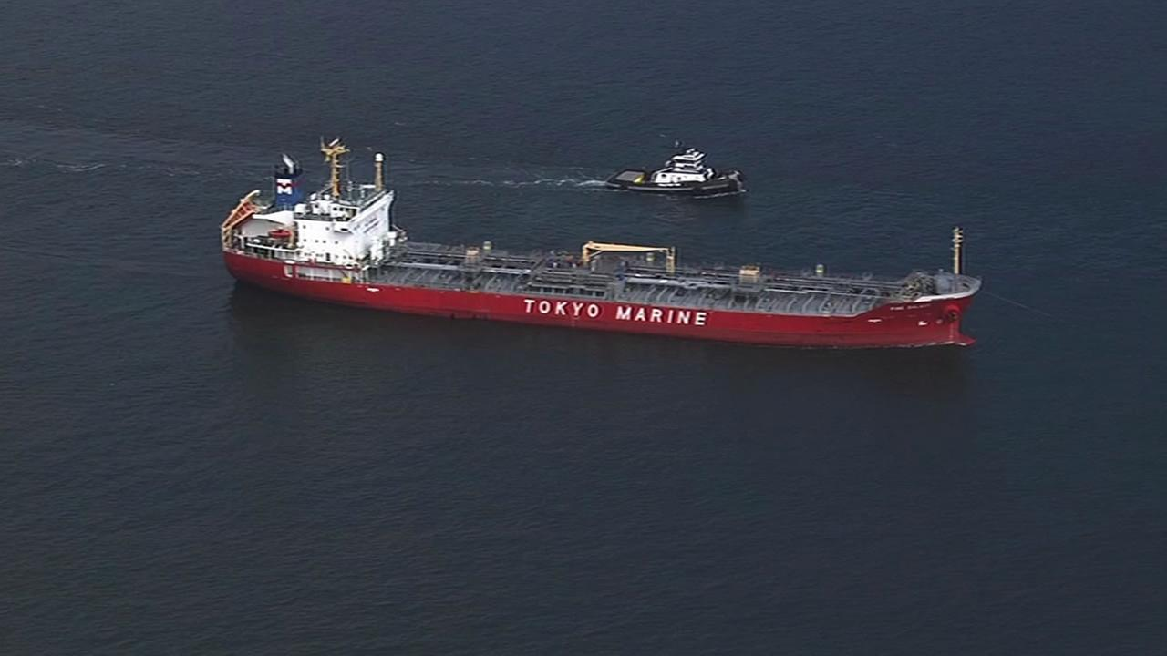 Tanker ship being towed in the Golden Gate.