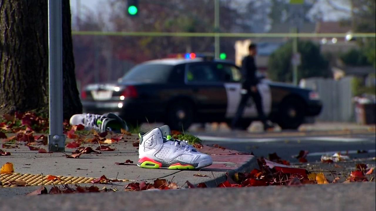 This is an image from the scene of a hit-and-run accident in Oakland, Calif. on Monday, January 1, 2018.