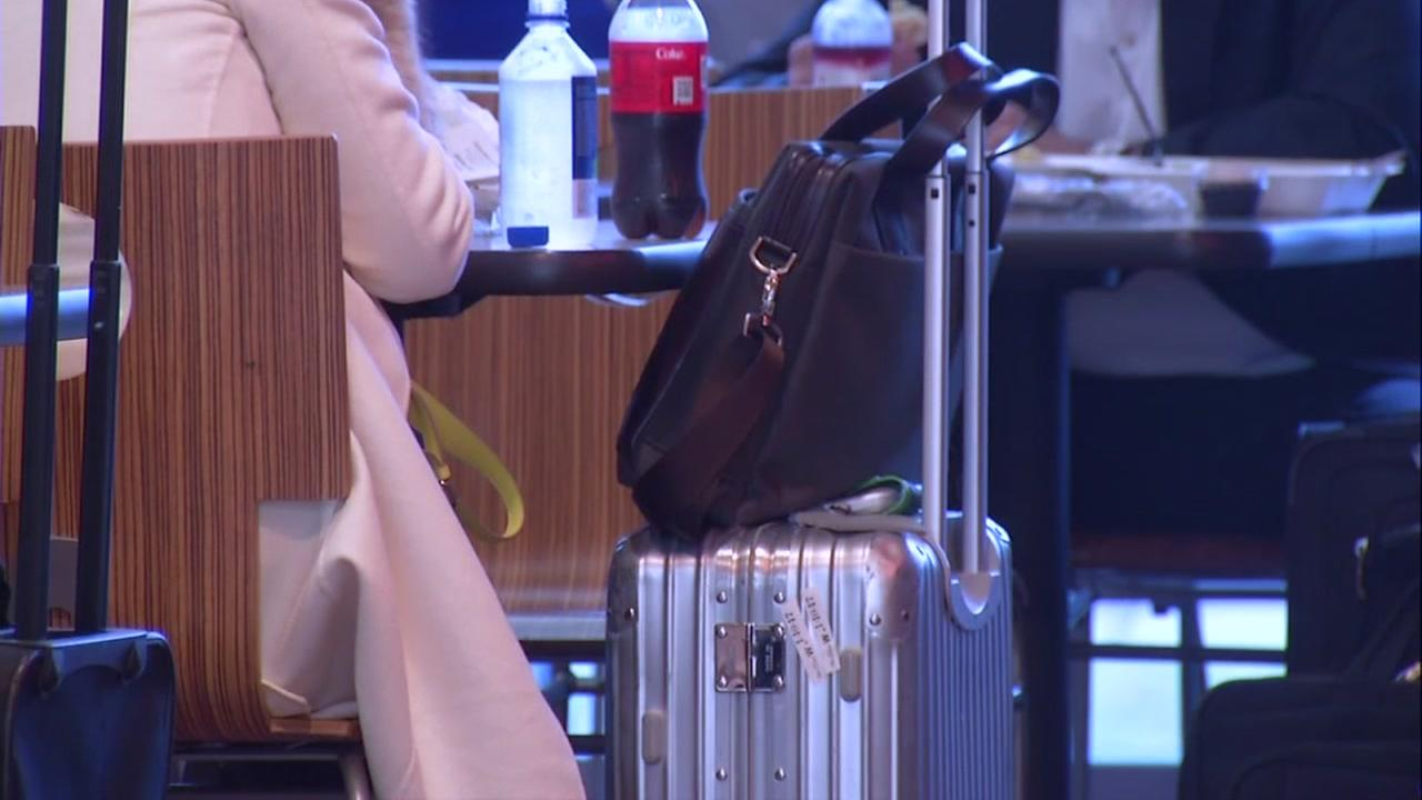 Luggage is seen in an airport in this undated image.