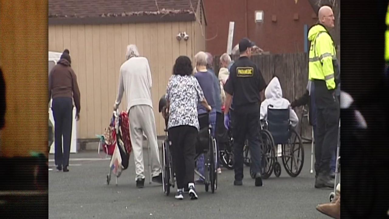 Elderly patients are evacuated from an Antioch assisted living facility after a fire on Tuesday, Jan. 16, 2018.