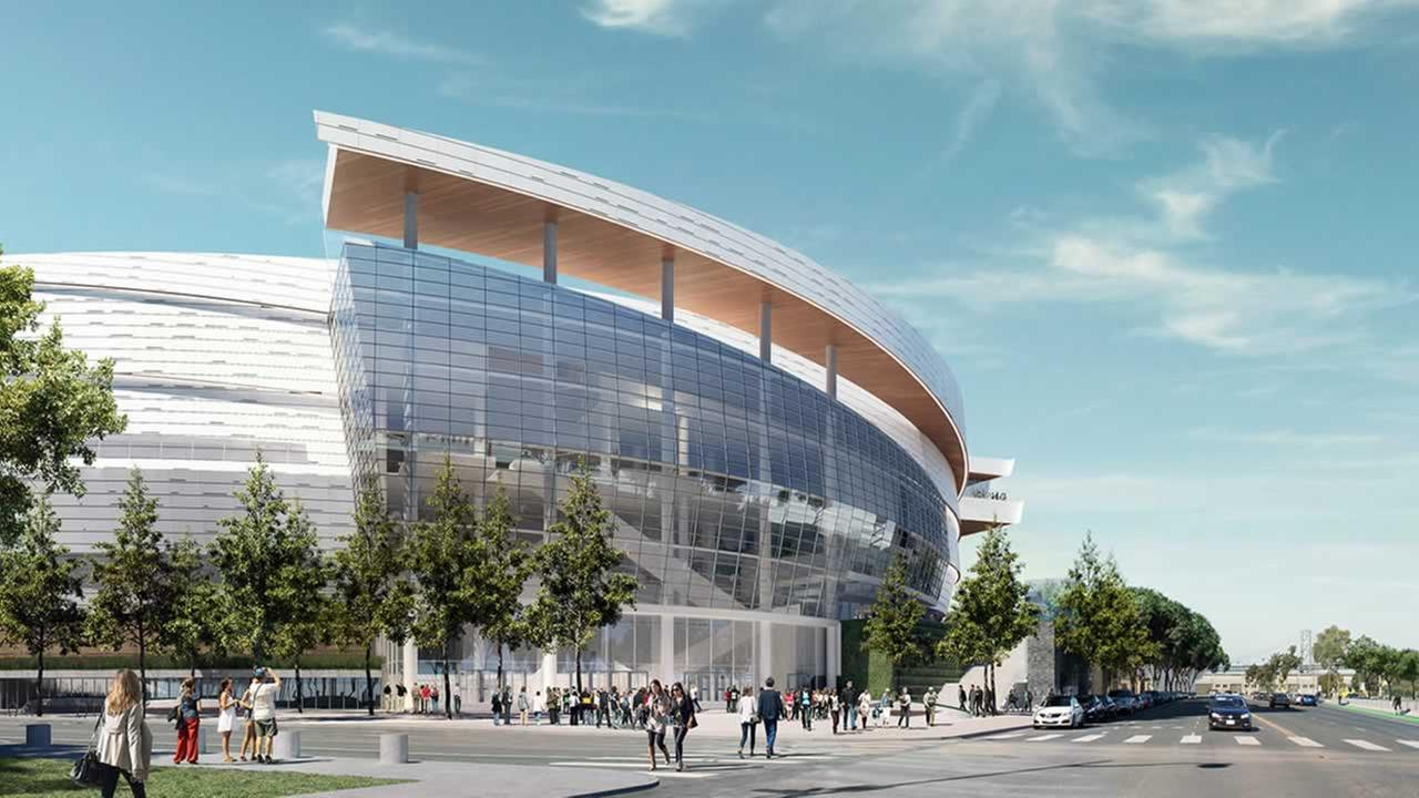 This rendering shows a completed Chase Center in San Franciscos Mission Bay.
