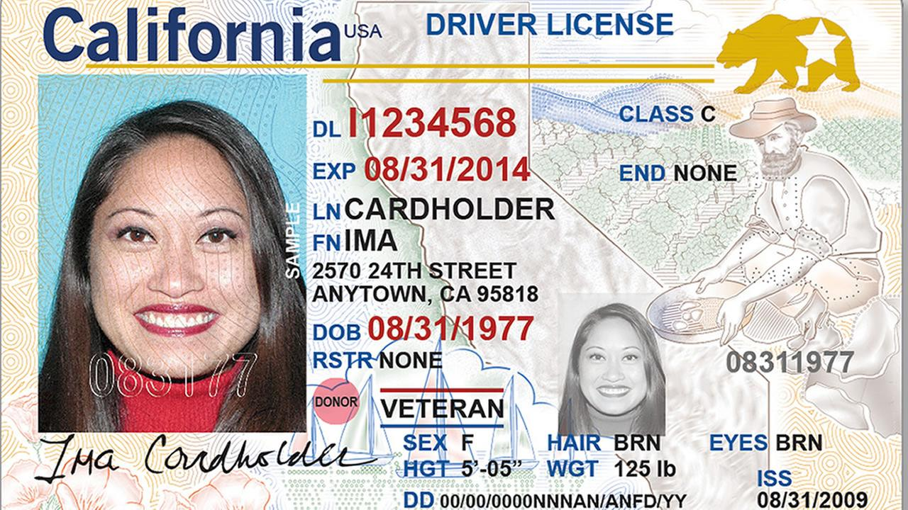 A REAL ID card for California residents is seen in this undated image.