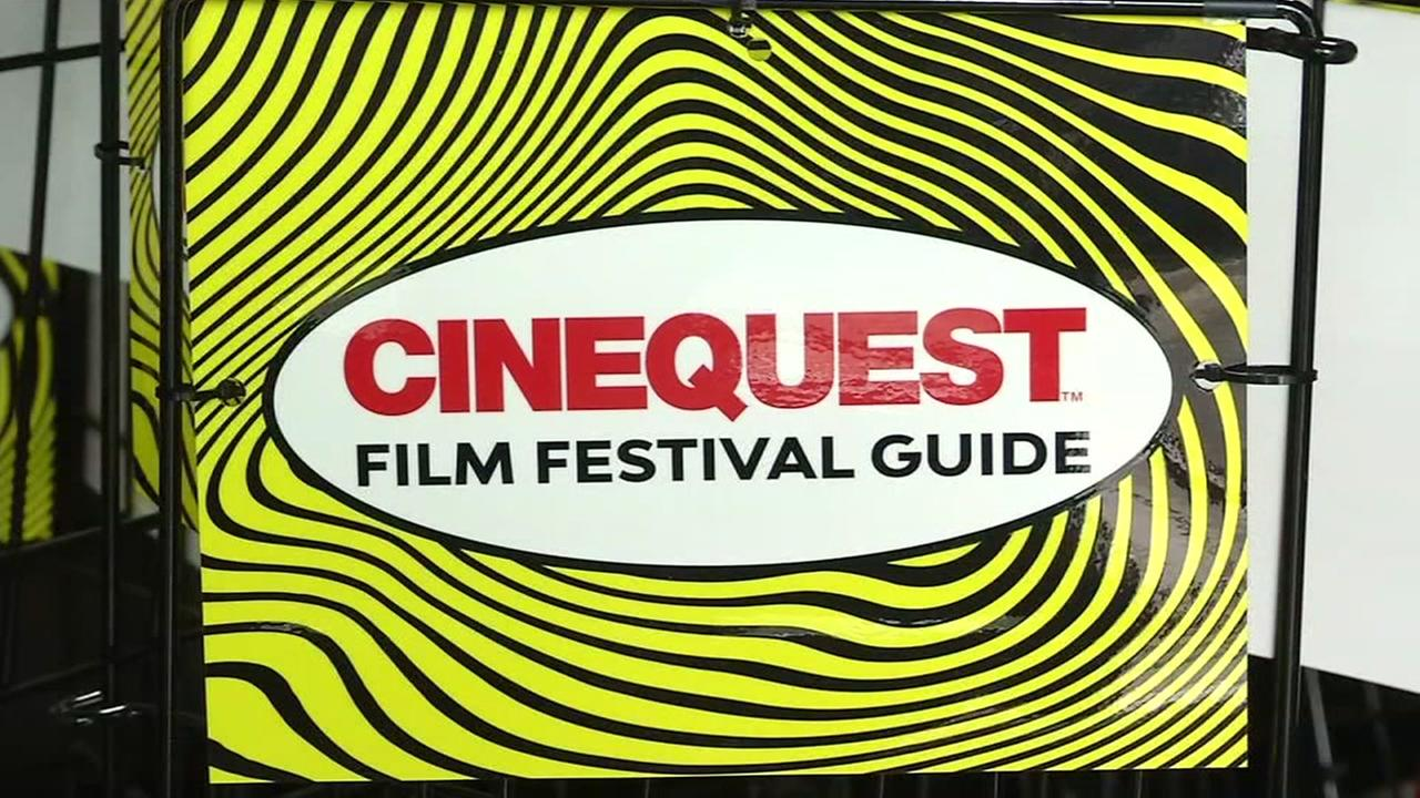 A sign for Cinequest is seen in San Jose, Calif. on Wednesday, Jan. 24, 2018.