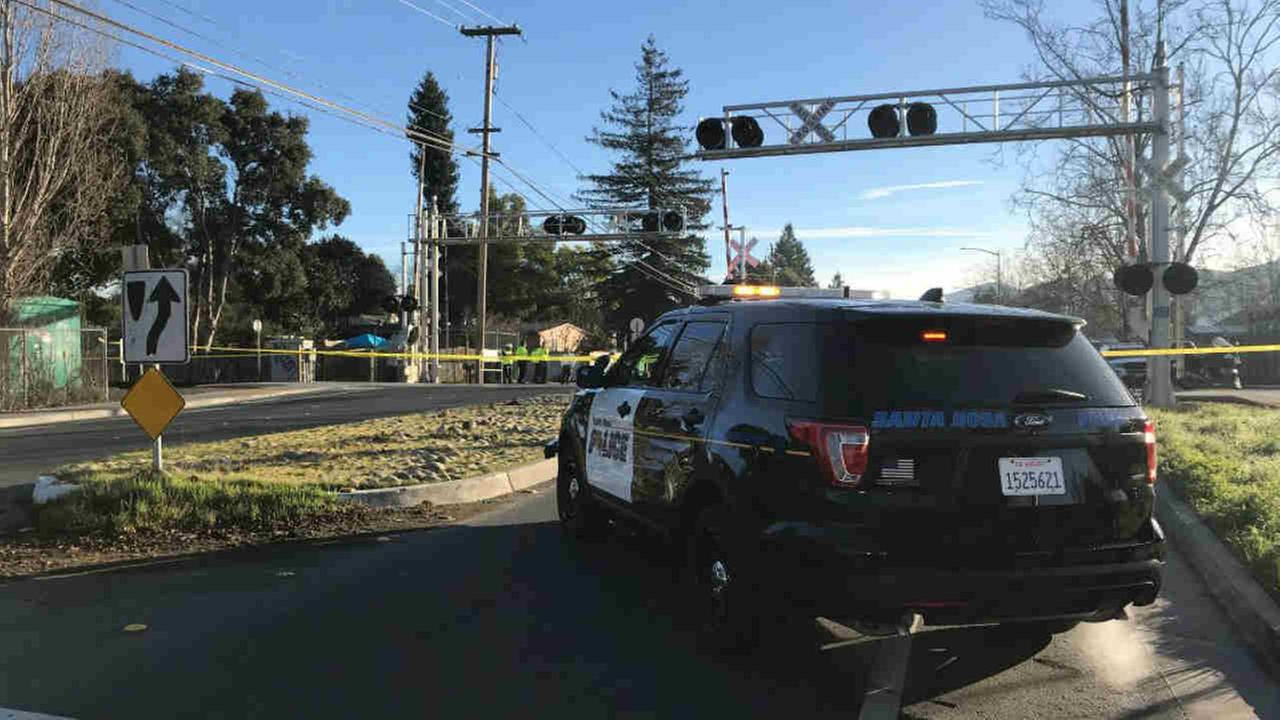 A Santa Rosa police vehicle is seen after a pedestrian was hit by a SMART Train in Santa Rosa, Calif. on Wednesday, Jan. 31, 2018.