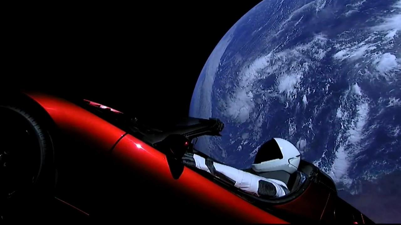 A Tesla Roadster is seen floating through space on Tuesday, Feb. 6, 2018.