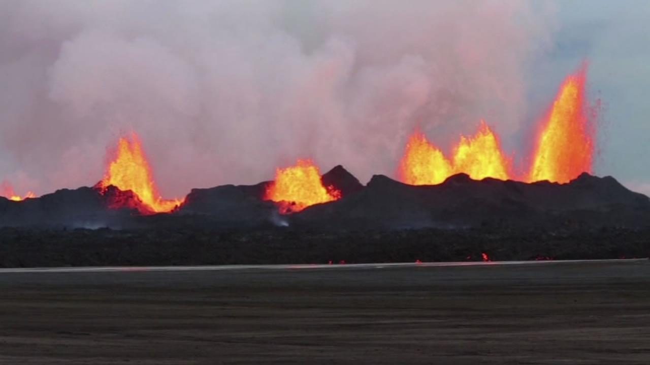 Volcanic eruption in Iceland.