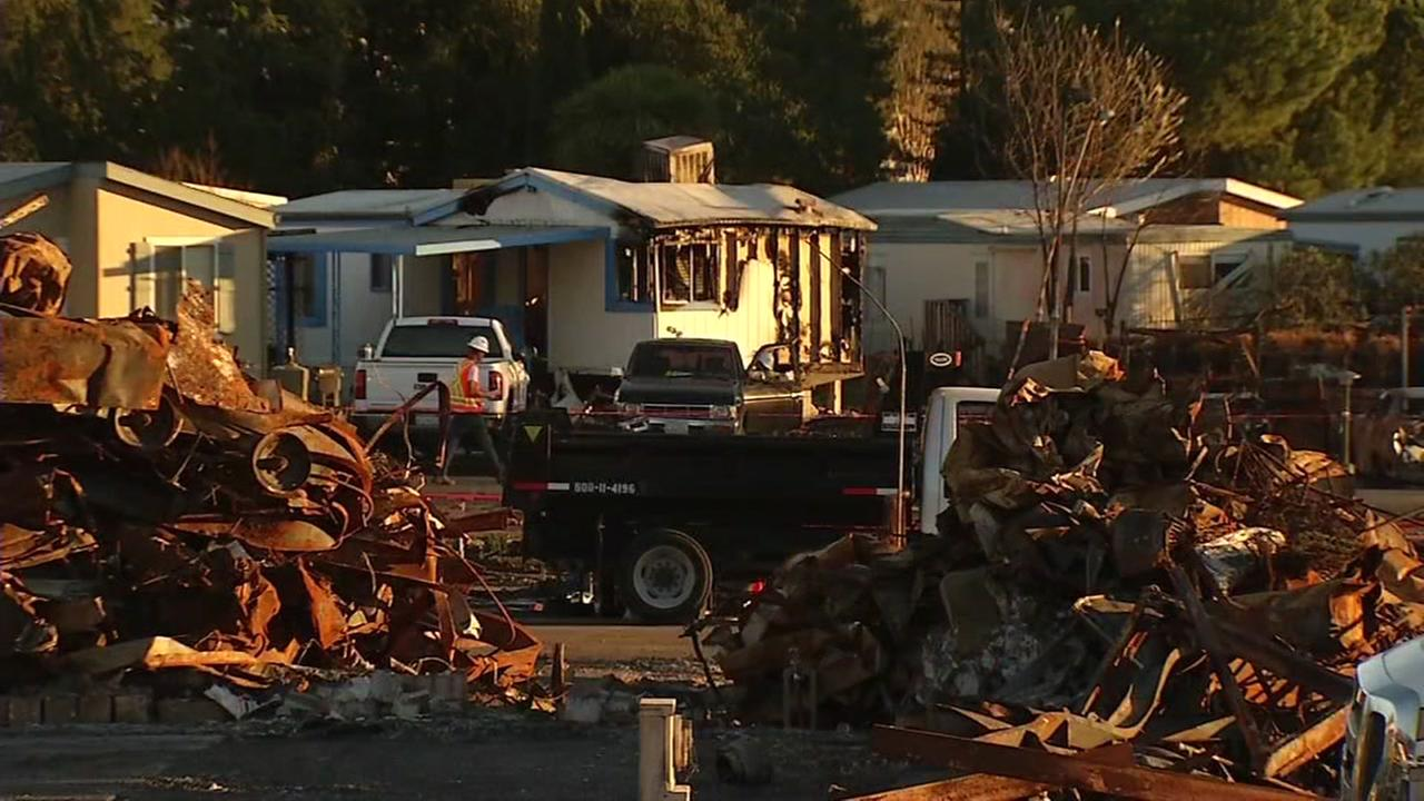 Damage from the North Bay Fires is seen in the Journeys End mobile home park in Santa Rosa, Calif. in this undated image.