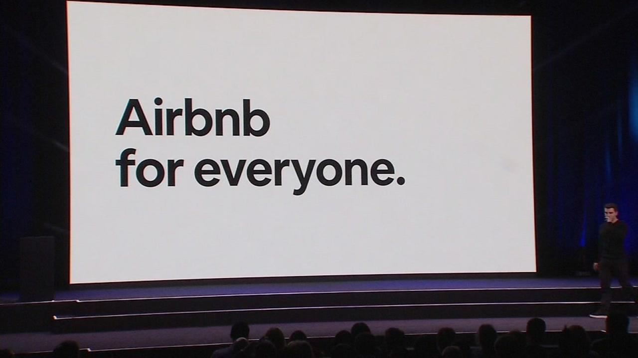 An Airbnb advertisement appears at an unveiling for the company in this undated image.