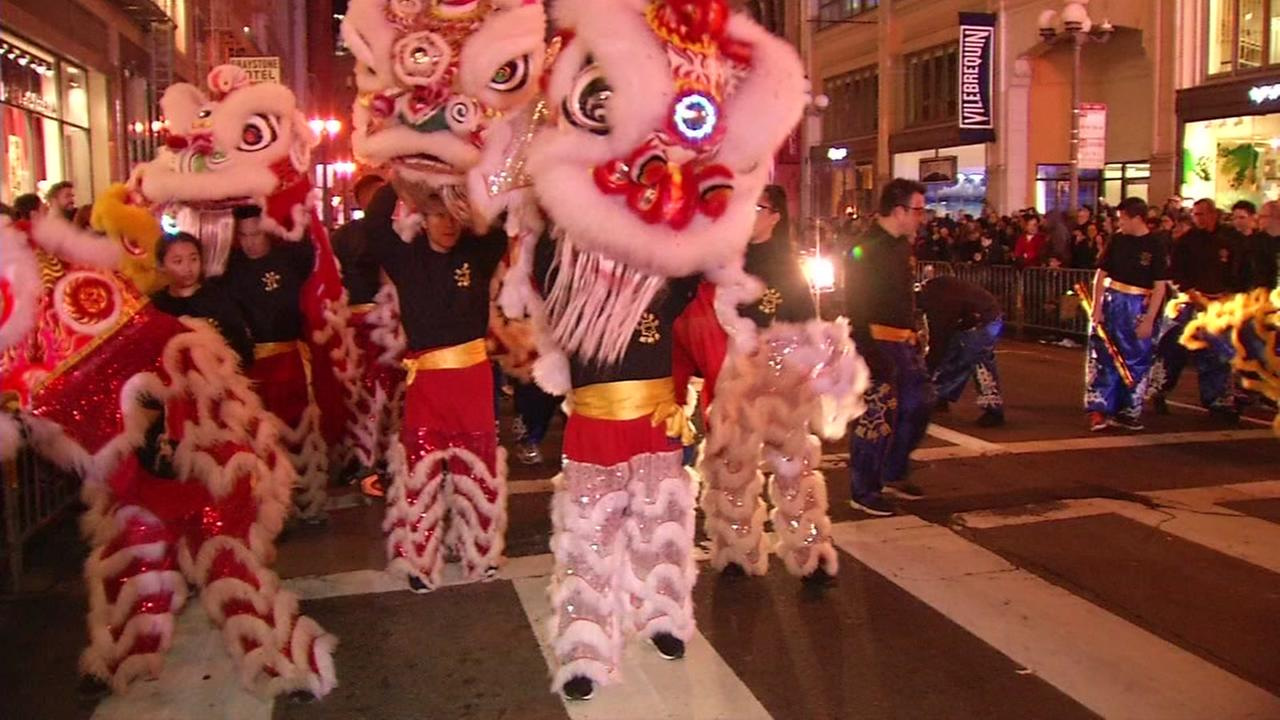 The Chinese New Year Parade is seen in San Francisco on Saturday, Feb. 24, 2018.