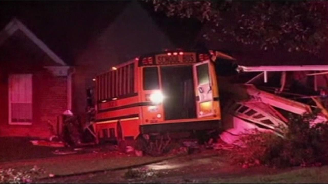 A school bus slammed into a house in Clayton County, Georgia, and it was caught on video.