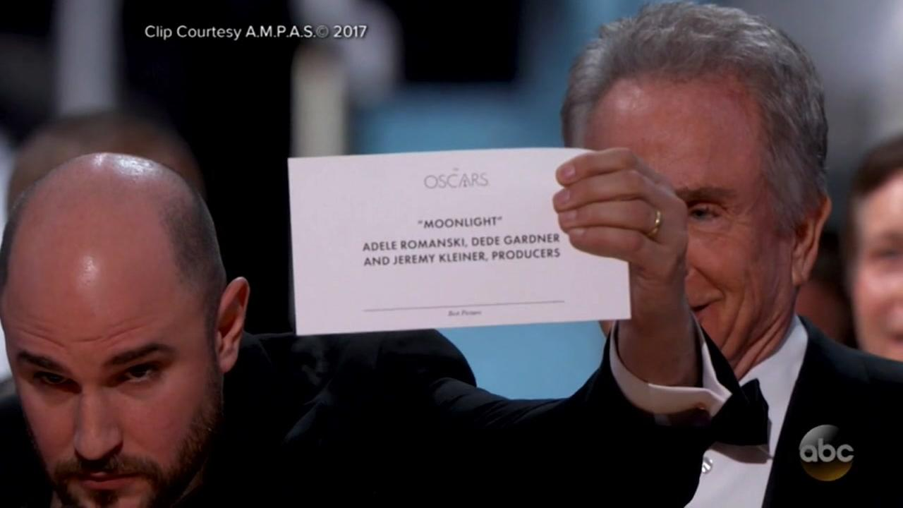 The envelope declaring Moonlight best picture of the year appears on Oscar Sunday, 2017.