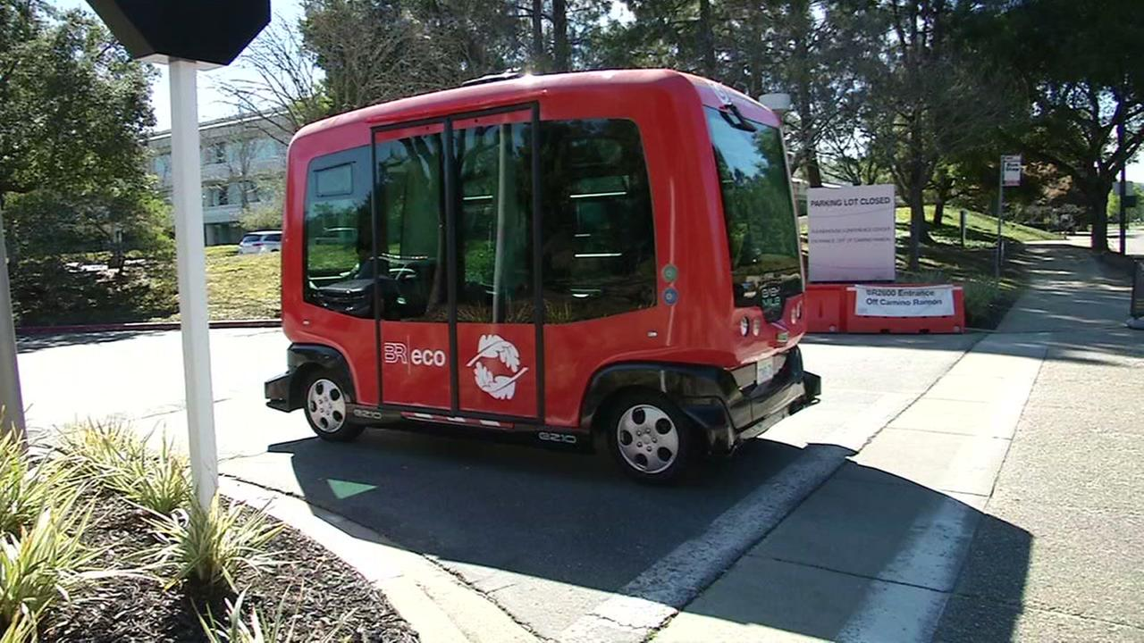 A driverless bus is seen in San Ramon, Calif. on Tuesday, March 6, 2018.