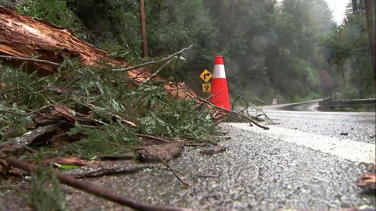 Storm debris is seen along a highway in Santa Cruz County on Wednesday, March 21, 2018.