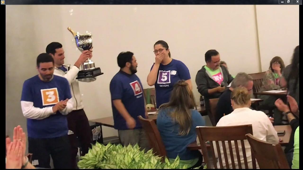 ABC7 News Meteorologist Drew Tuma raises a trophy over his head from the Lucasfilm annual charity Trivia Night on Thursday, March 22, 2018.