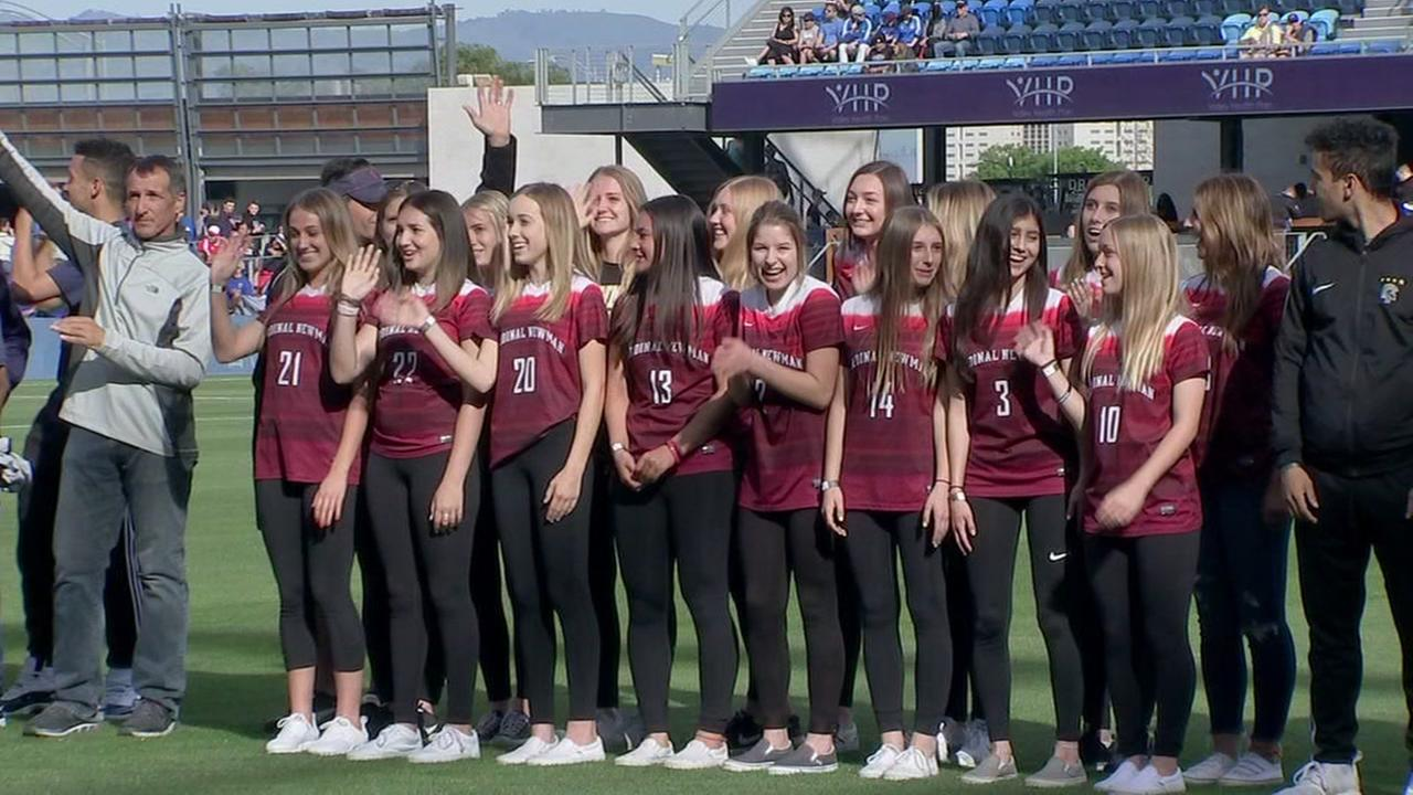 The Cardinal Newman girls soccer team is seen at Avaya Stadium in San Jose, Calif. while being honored by the San Jose Earthquakes on Saturday, March 31, 2018.