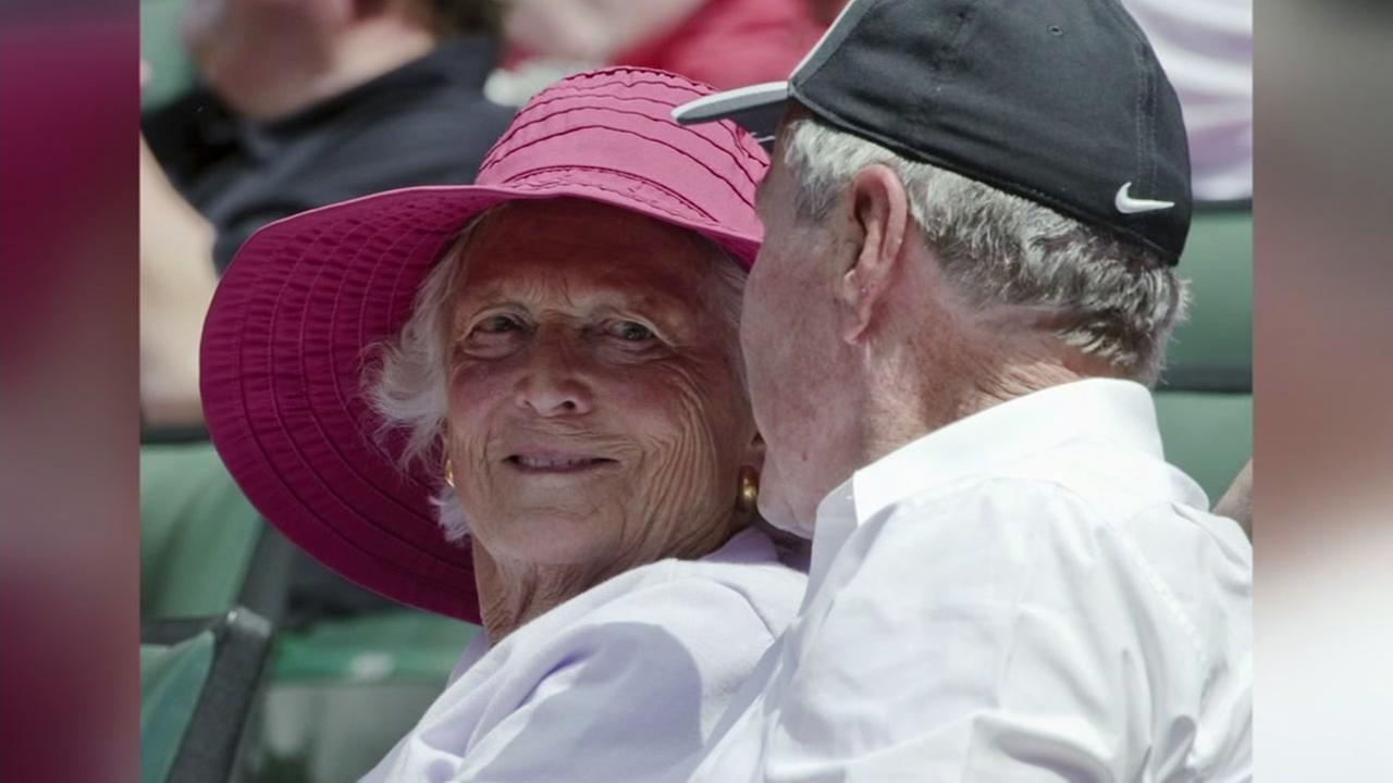 Former First Lady Barbara Bush is seen sitting next to Former President George H.W. Bush in this undated image.