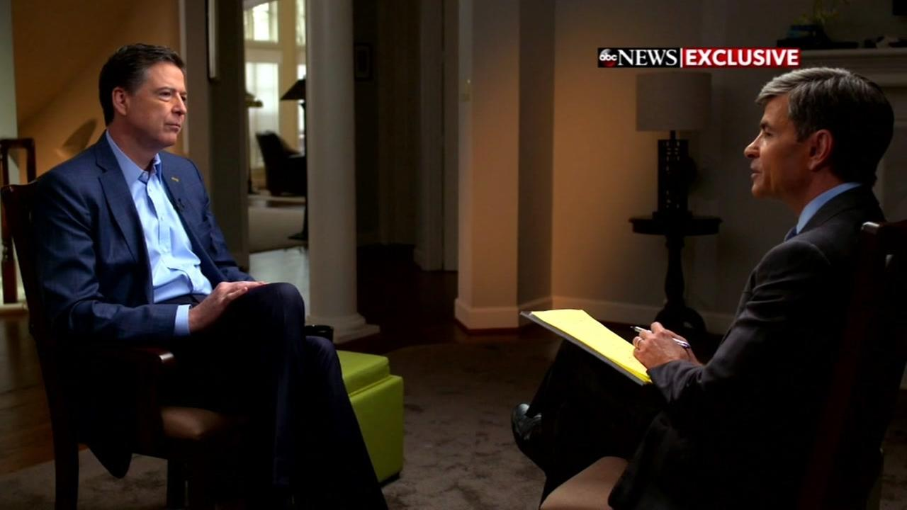 James Comey is seen during an interview with George Stephanopoulos in this undated image.