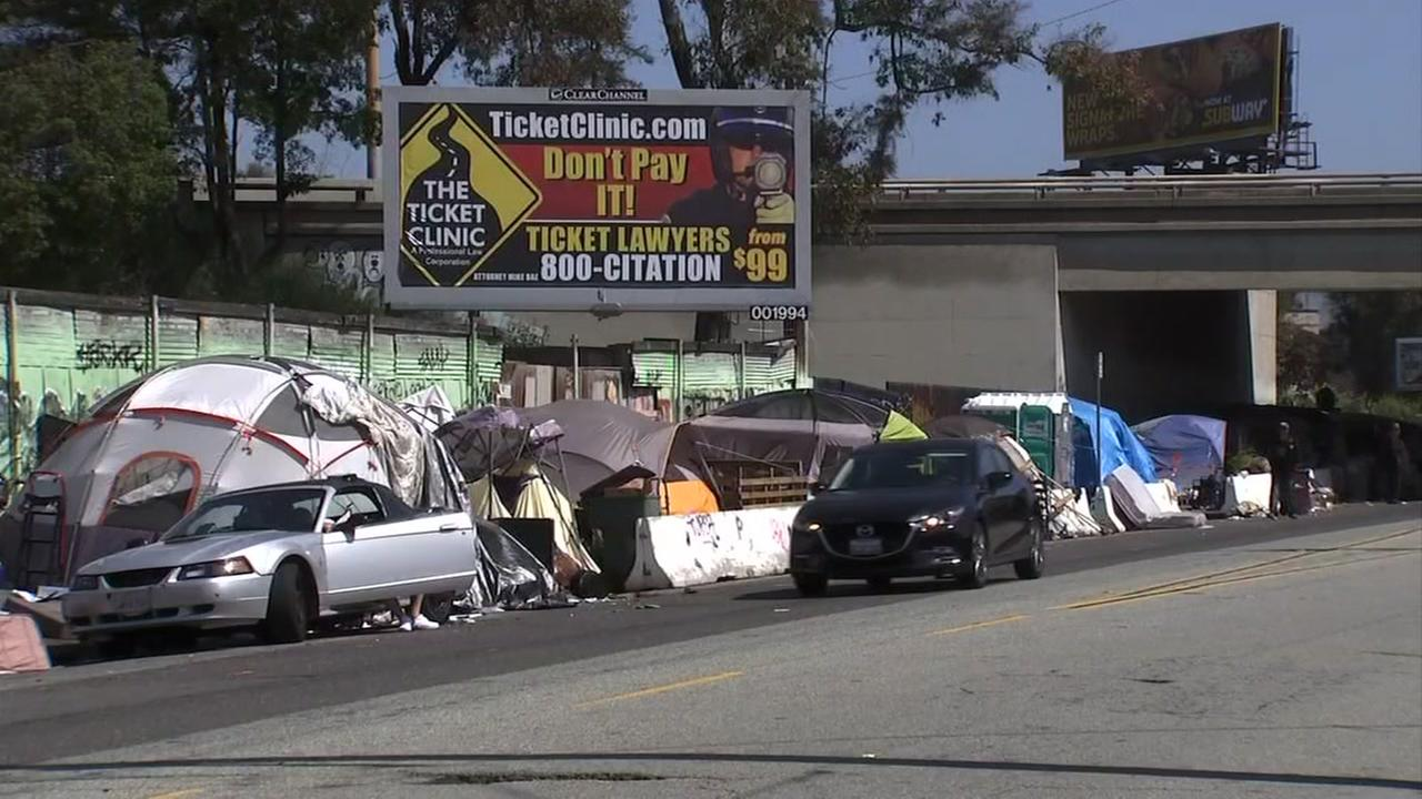 A homeless encampment is seen in Oakland, Calif. on Monday, April 23, 2018.