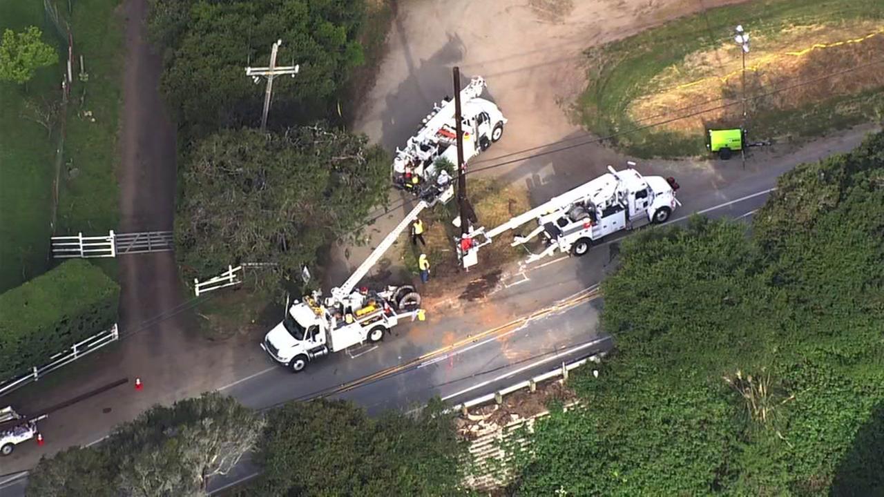 Crews are seen near Soquel San Jose Road in Santa Cruz, Calif. on Friday, April 27, 2018.