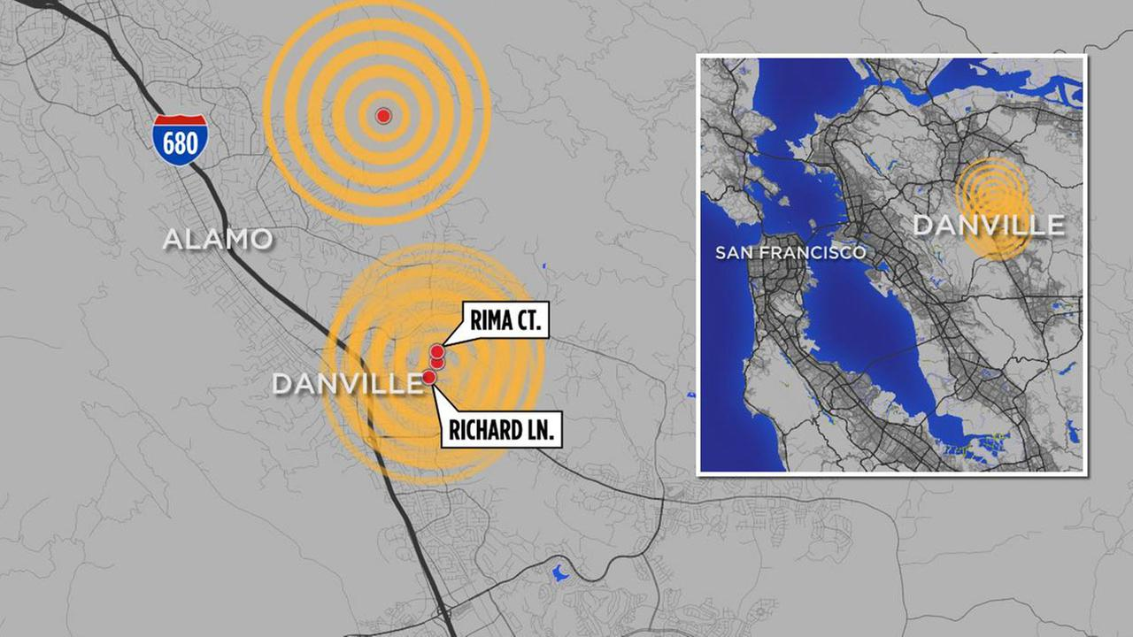 Map of earthquake that have struck the Bay Area