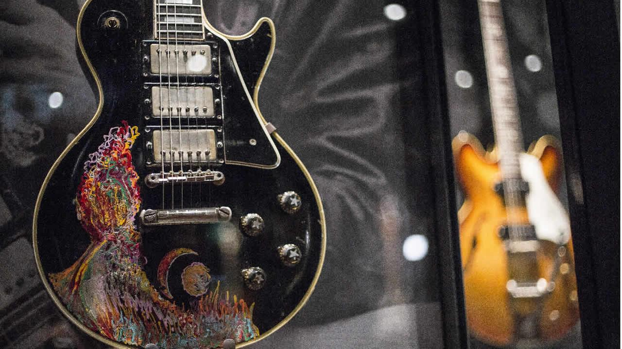 The hand-painted custom 1957 Gibson guitar of Keith Richards is photographed in London, April 4, 2016. (Photo by Joel Ryan/Invision/AP)