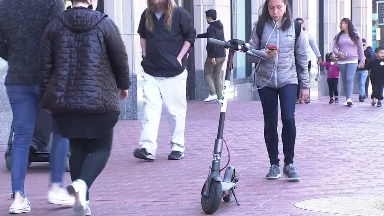 A scooter is pictured in San Francisco on Tuesday, May 1, 2018.