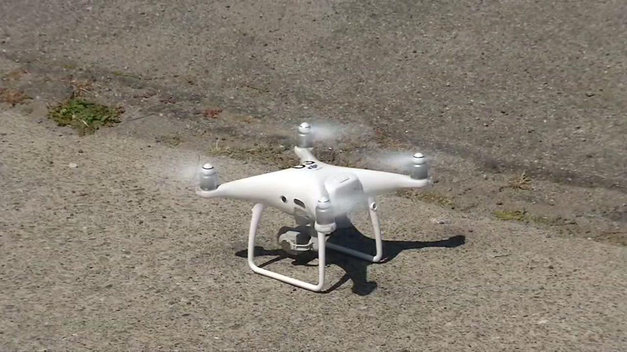 A drone appears in San Francisco, Calif. on Thursday, May 9, 2018.