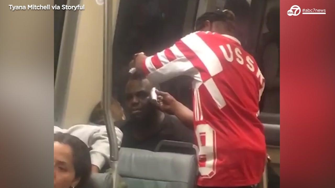 Video of man getting haircut on BART goes viral