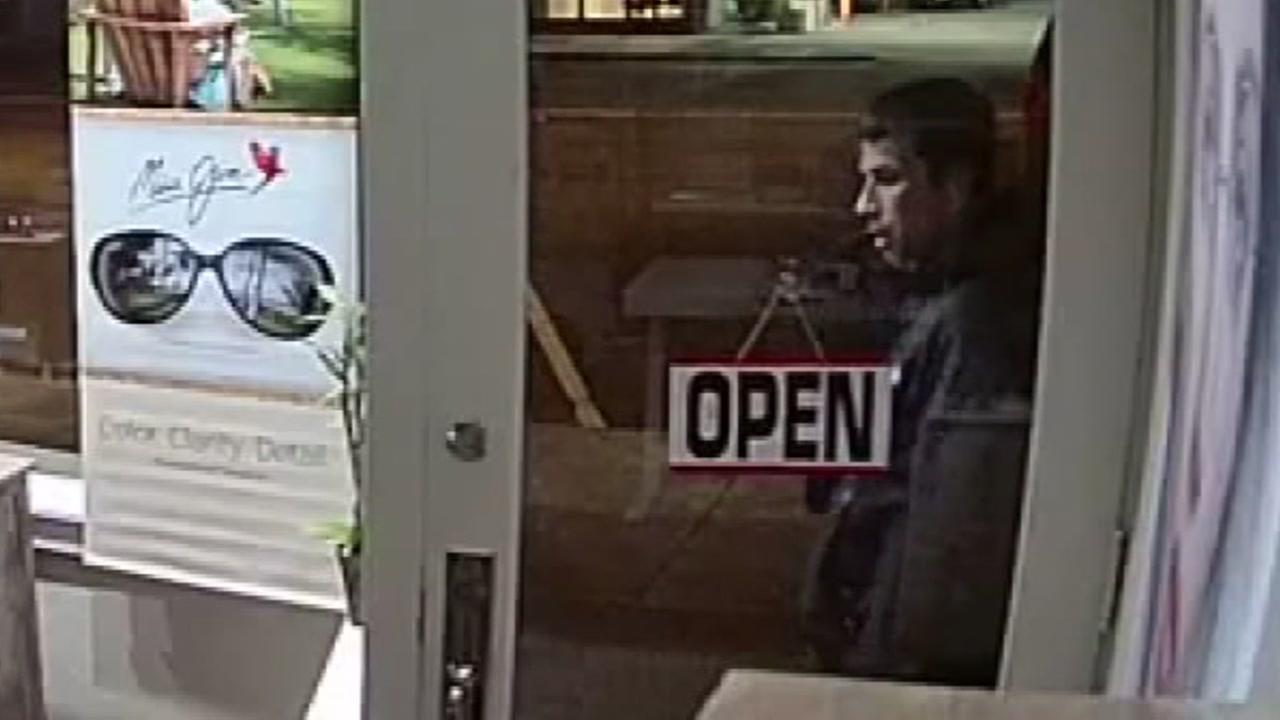 A man the San Francisco Sheriffs Department says is Benjamin Chase is seen outside Sunset Focus Optometry on Noriega Street in San Francisco before a burglary in this undated image.
