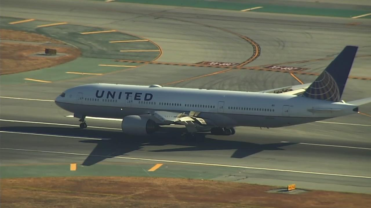 This is an undated image of a United Airlines plane.