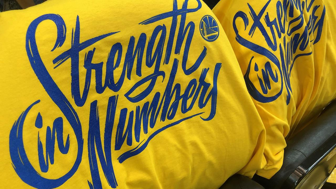 Warriors shirts appear at Oracle Arena on Saturday, May 26, 2018.