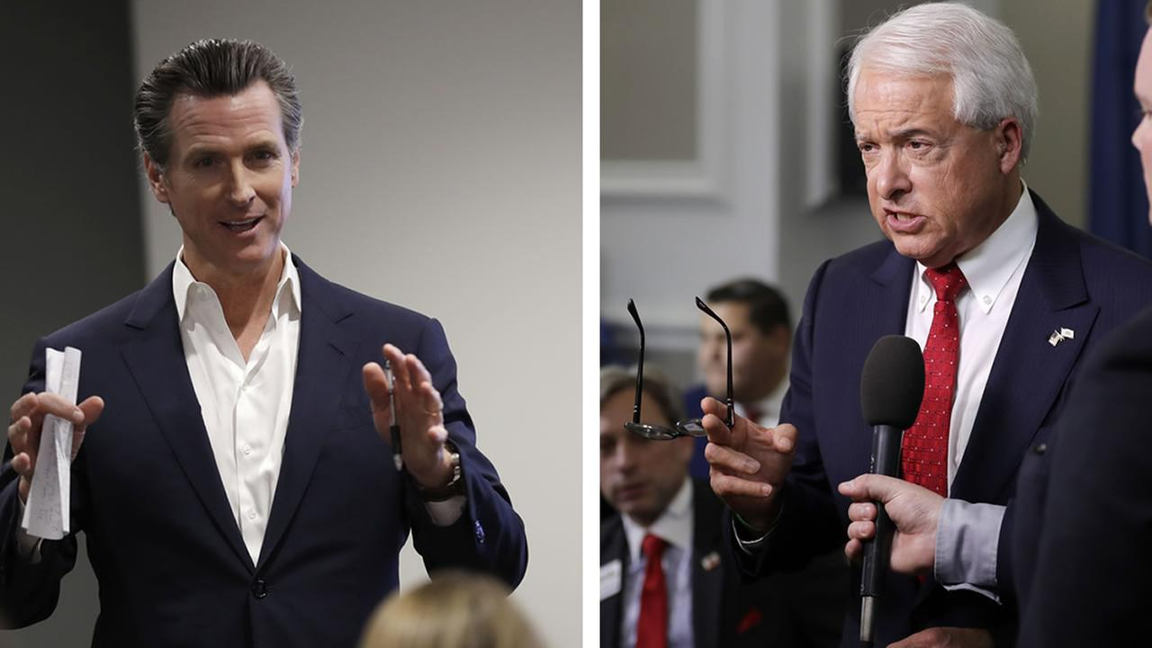 Gavin Newsom and John Cox appear in this undated split image.