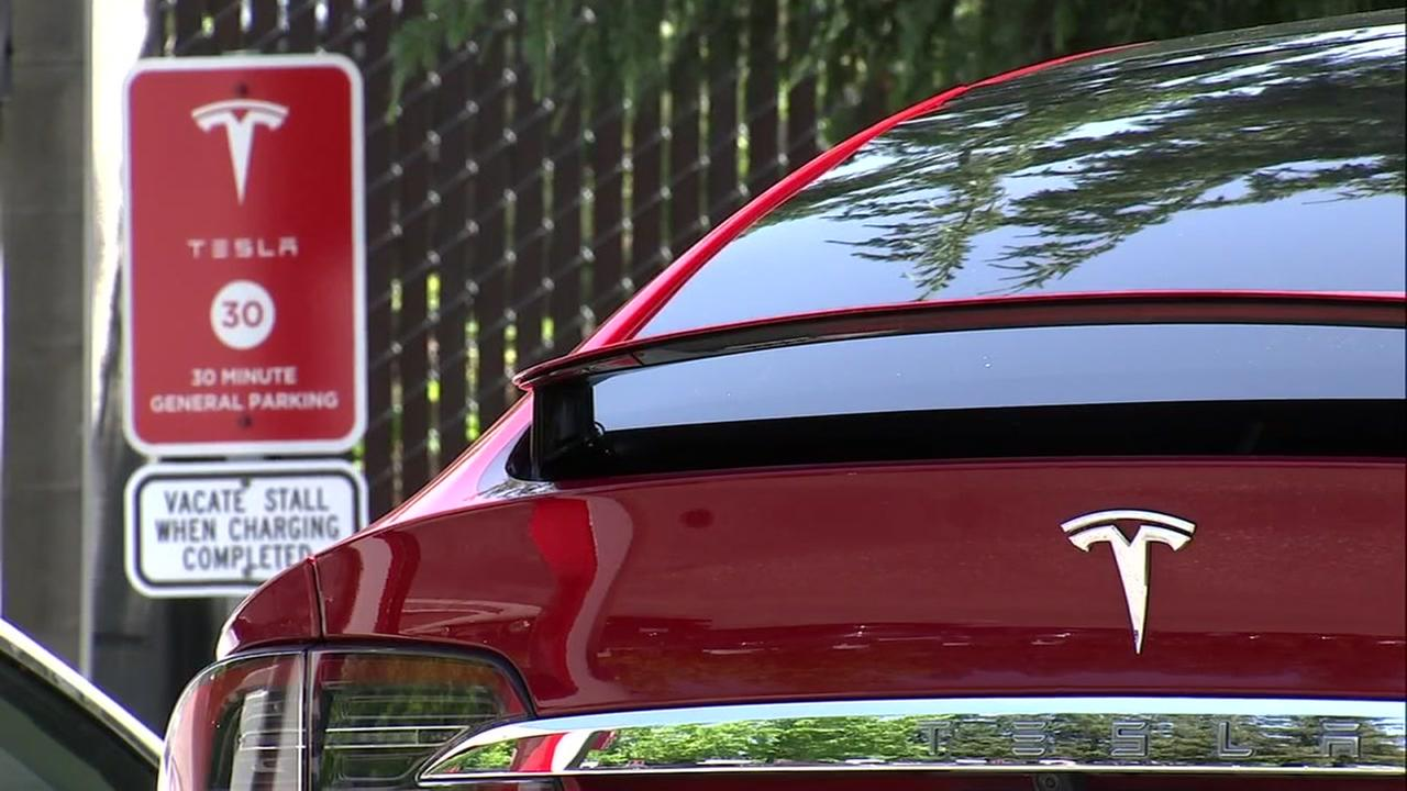 A Tesla vehicle appears in Mountain View, Calif. on Thursday, June 7, 2018.