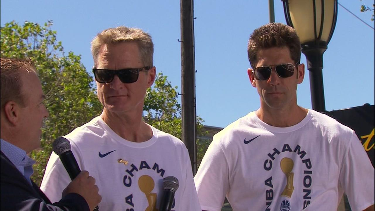 Warriors GM Bob Myers and Head Coach Steve Kerr are interviewed at the Warriors victory parade in Oakland, Calif. on Tuesday,  June 12, 2018.