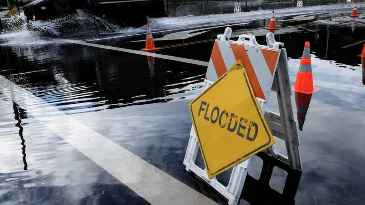 A sign warning about flooding is pictured in this undated file photo.