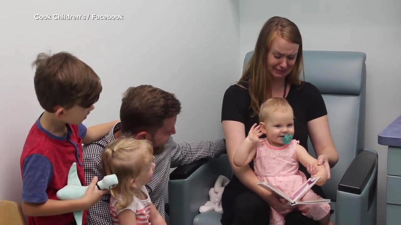 A 1-year-old girl hears for the first time in a video Cook Childrens Medical Center in Fort Worth, Texas, posted to Facebook.