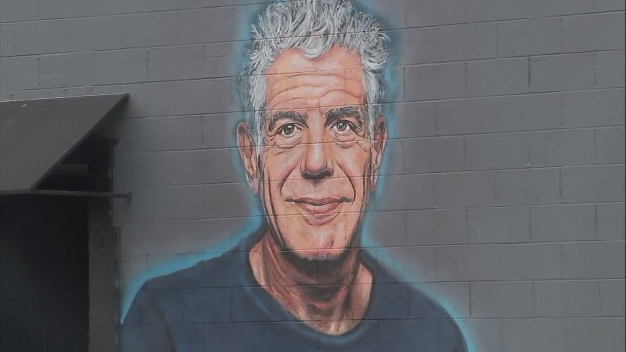 A mural remembering Anthony Bourdain is seen in Santa Monica, California.