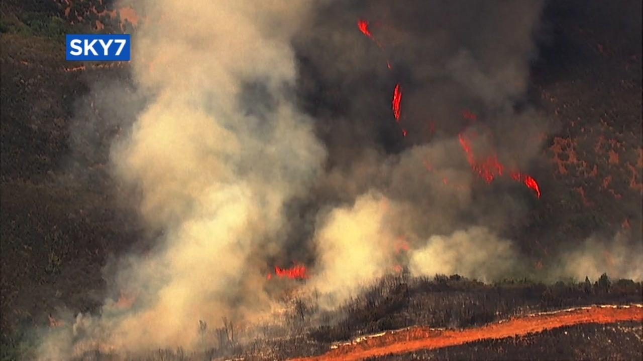 The Pawnee Fire in Lake County burns a hill on Monday, June 25, 2018.