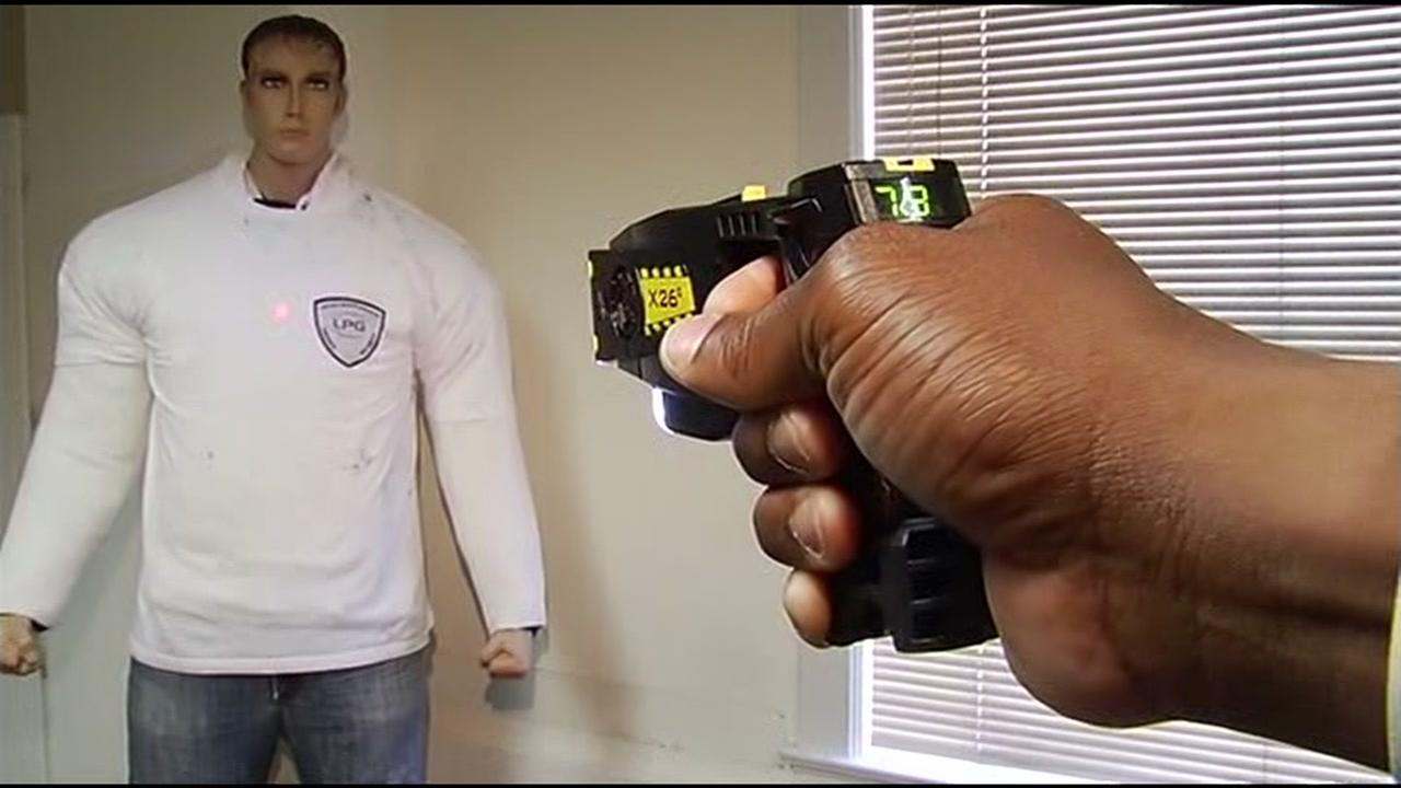 A taser is seen being fired in this undated image.